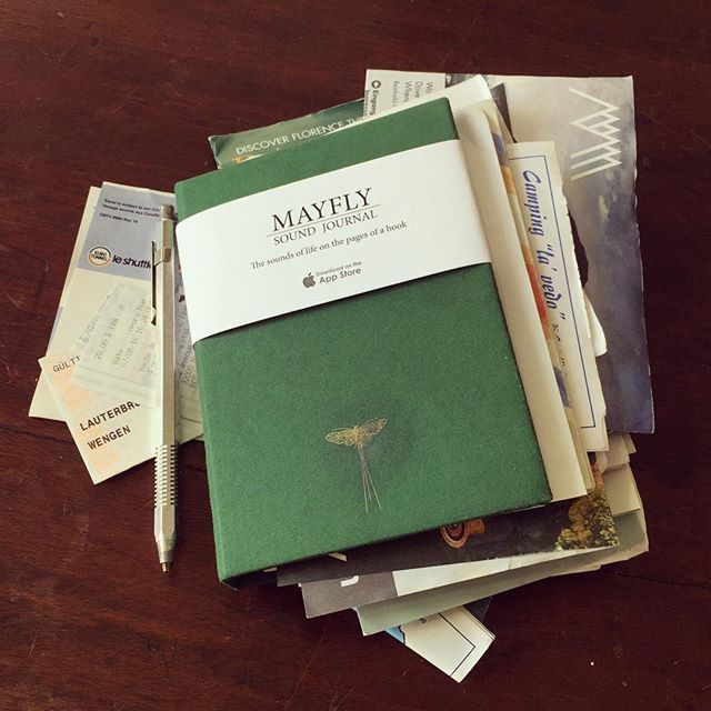 Bursting Mayfly Journal full of tickets, receipts, handouts, stickers... #roadtrip #france #Switzerland #italy #dolomites #corsica #journal #traveljournal  #ephemera