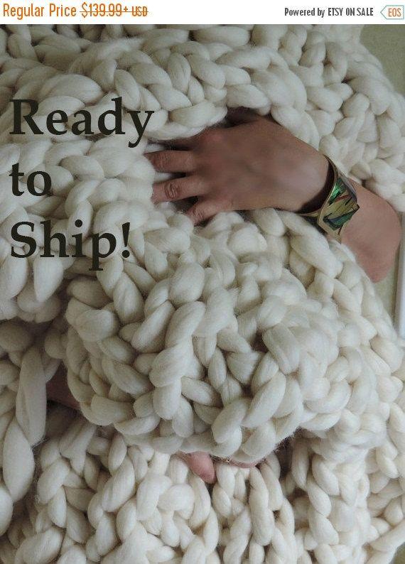 On Sale Sale Chunky Knit Blanket Australian Merino By Jennysknitco