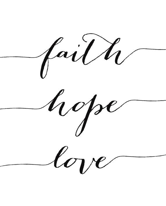 Wall Art, Faith Hope Love Print, Inspirational Art, Printable Art
