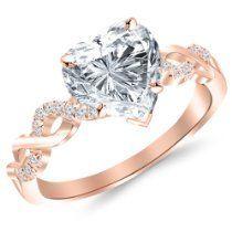0.67 Carat Twisting Infinity 14K Rose Gold and Diamond Split Shank Pave Set Heart Shape Diamond Engagement Ring (E Color SI1 Clarity)