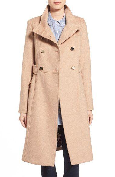 Women's Eliza J Stand Collar Wool Blend Military Coat | Wool ...