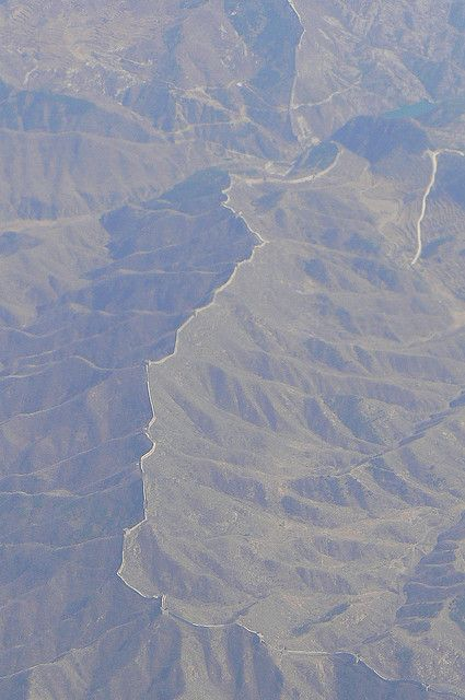 Great Wall of China as seen from the plane