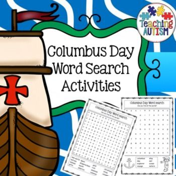 Christopher Columbus Day Word Search Worksheets | Writing ...