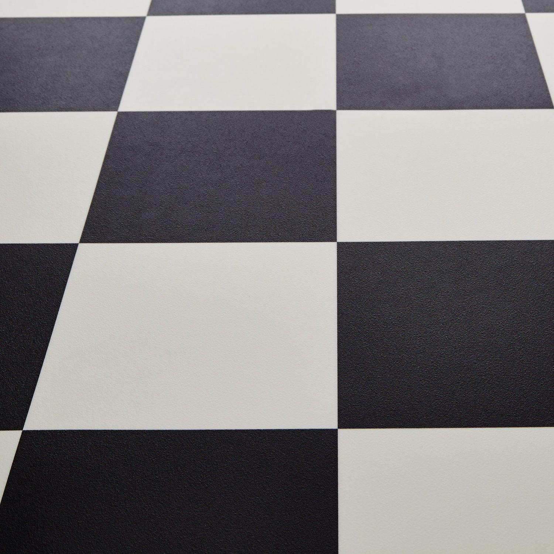 Mardi Gras 99 Dublin Black White Chequered Tile Vinyl Flooring