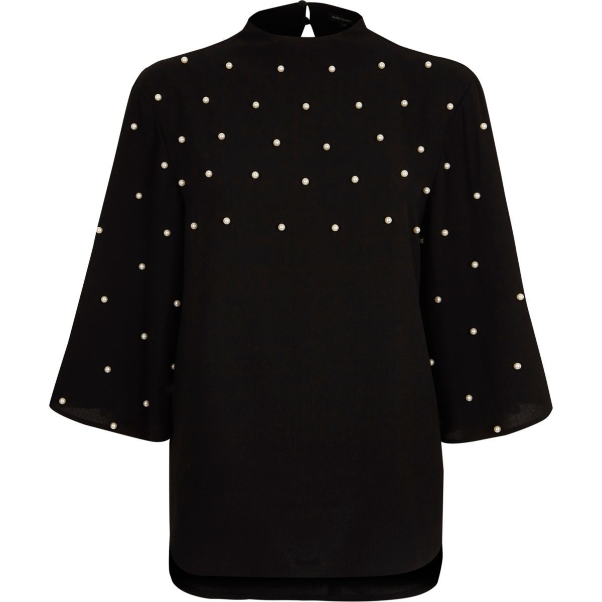 Black faux pearl high neck cape top wish list pinterest
