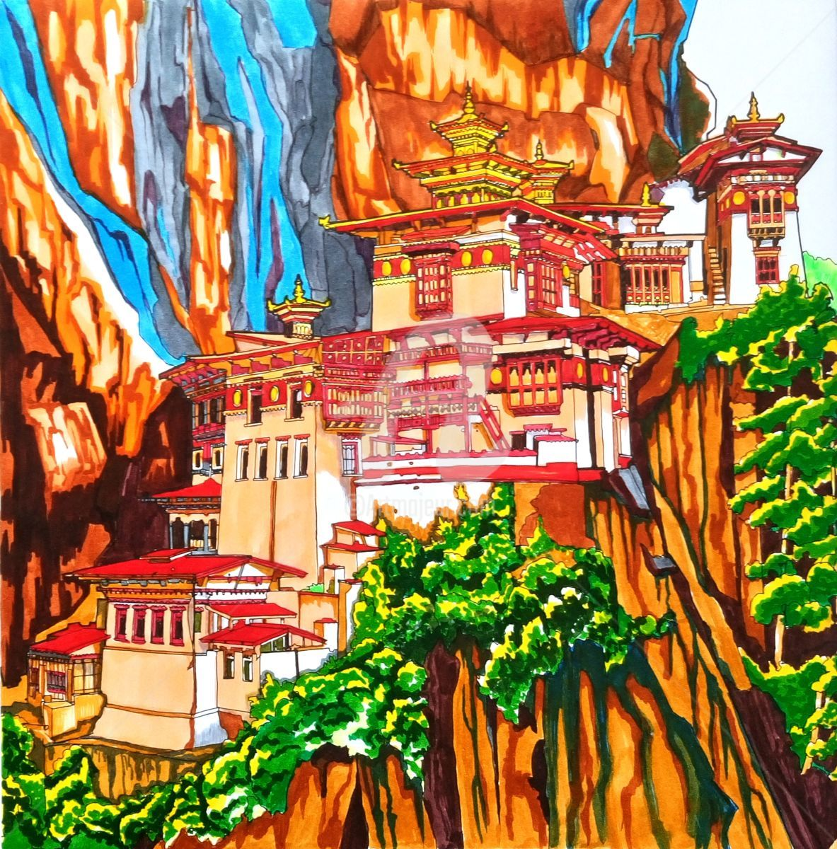 Tiger S Nest Monastery Bhutan Drawing By Anne D Orion Artmajeur