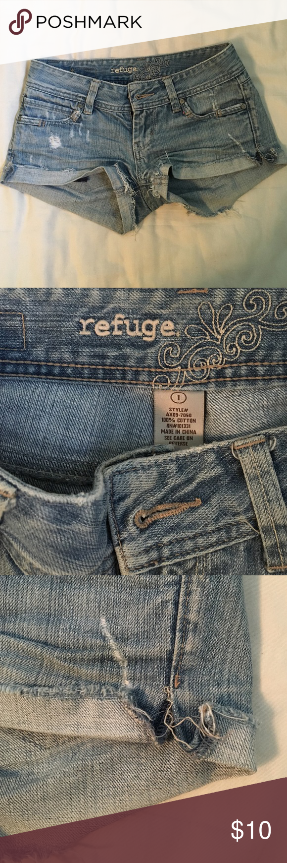 Destroyed denim jean shorts Destroyed denim shorts size 1 Juniors. Side of the shorts seam on the left is coming undone but it can be stitched back. Loved these shorts! Charlotte Russe Shorts Jean Shorts