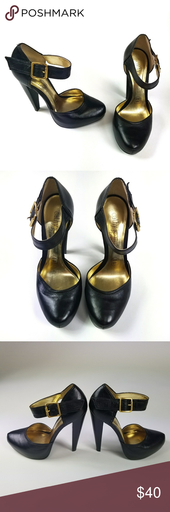 a5232eca9e Cathy Jean Black Leather Pumps Size 7.5 Never worn! Black leather close  toed platform cone heels with ankle strap, gold buckle. Made in Brazil.