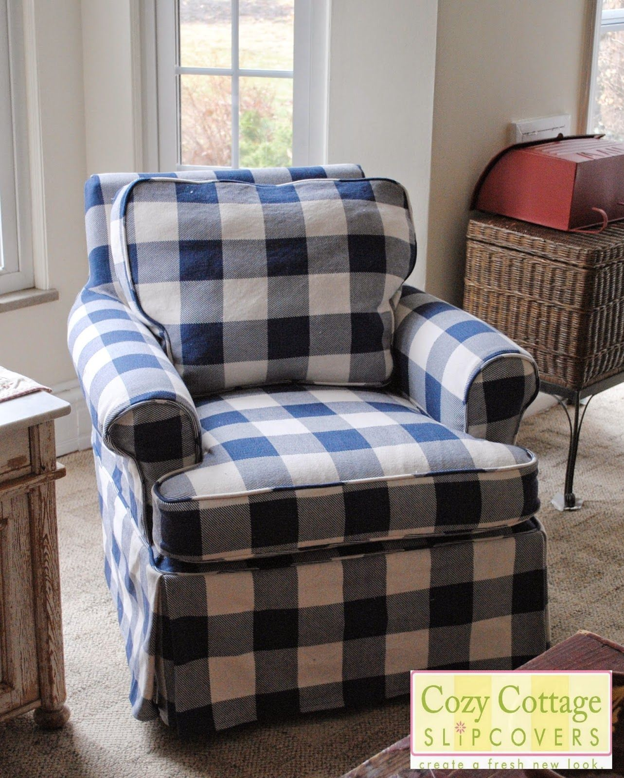 Blue And White Buffalo Check Slipcovers Slipcovers For Chairs