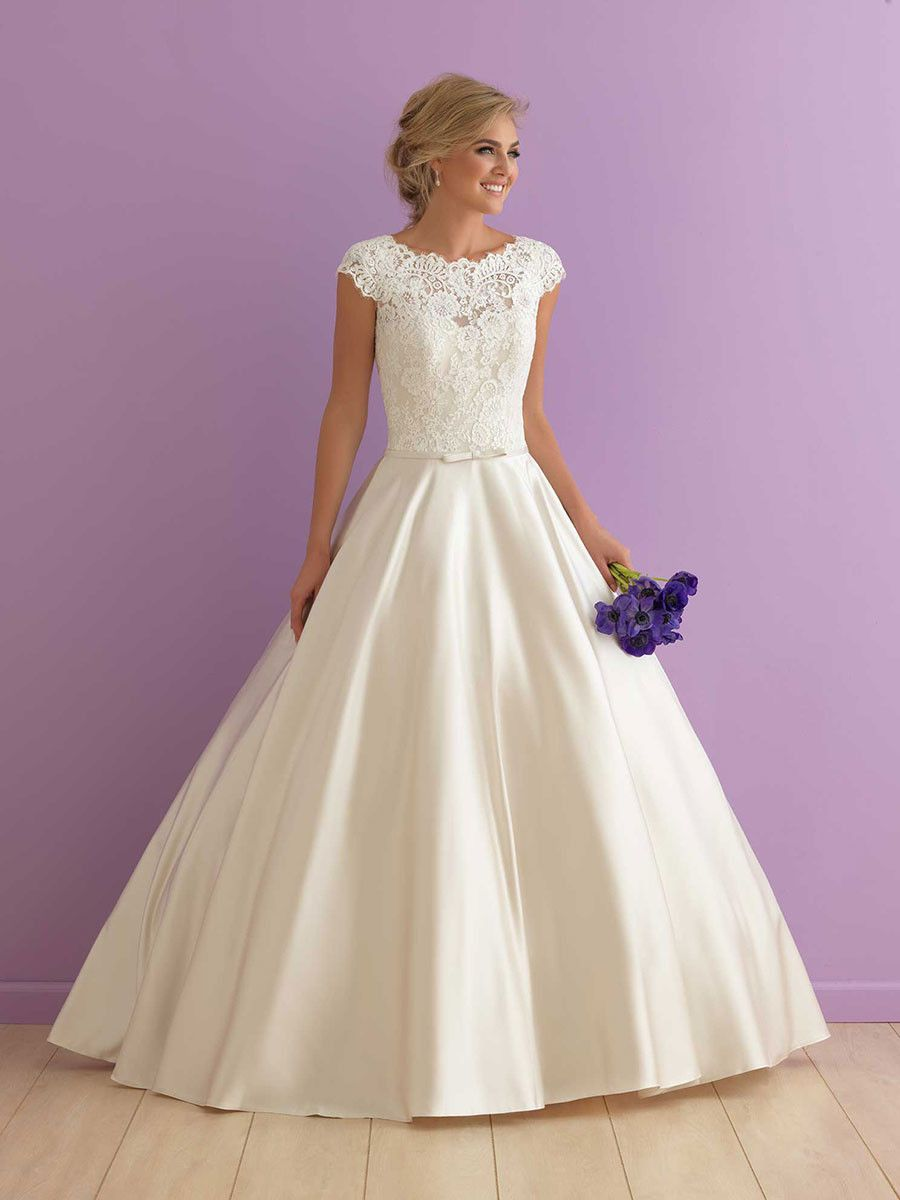 Classic Ball Gown Wedding Dress With Cap Sleeves High Neck Lace