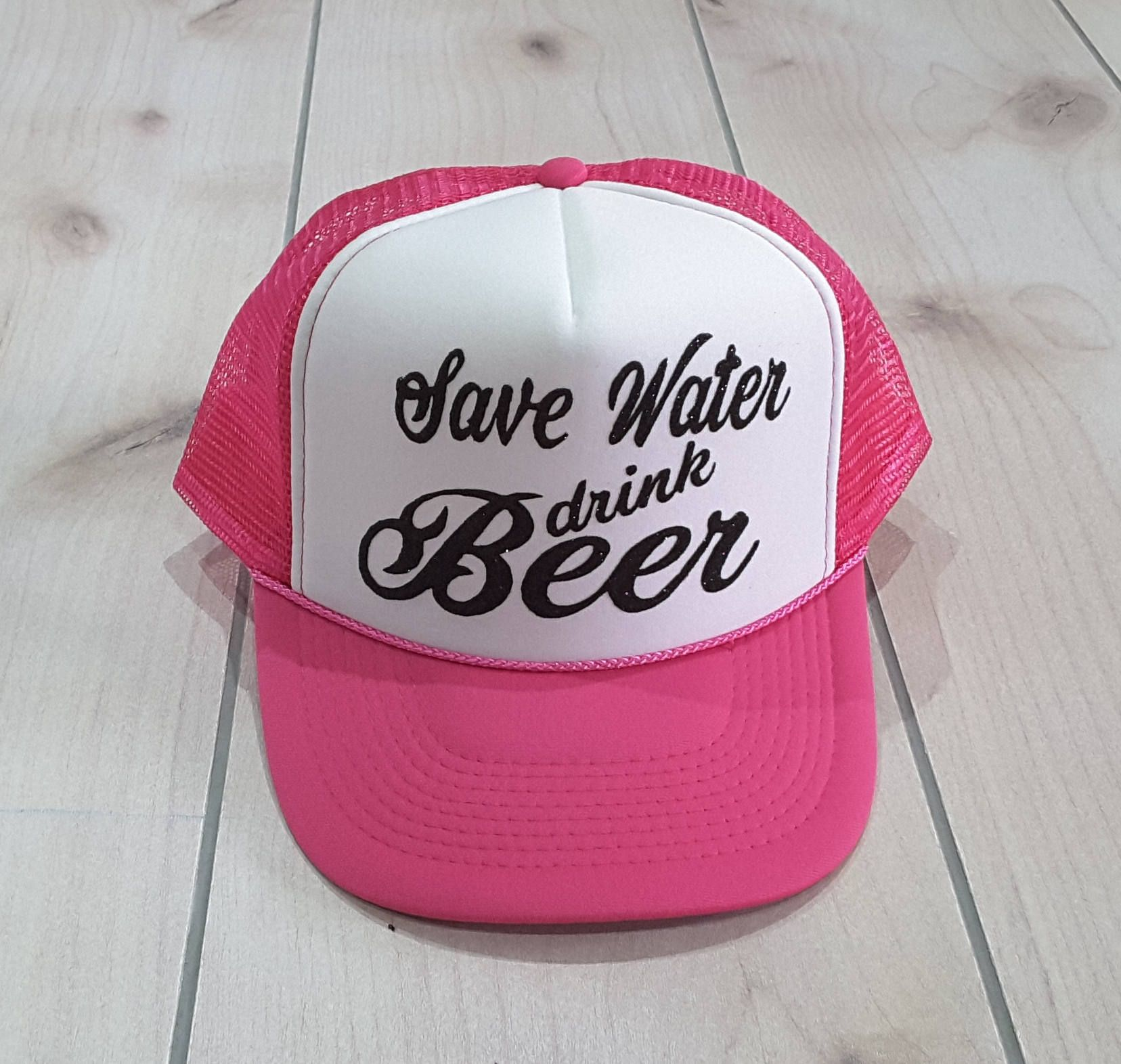 a1a74ba1e93 Save Water Drink Beer Hot Pink and White Trucker Hat, Baseball and ...