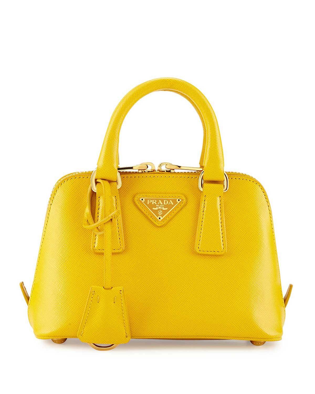 1b79fcbeb8 Prada Mini Saffiano Promenade Bag Yellow  Handbags