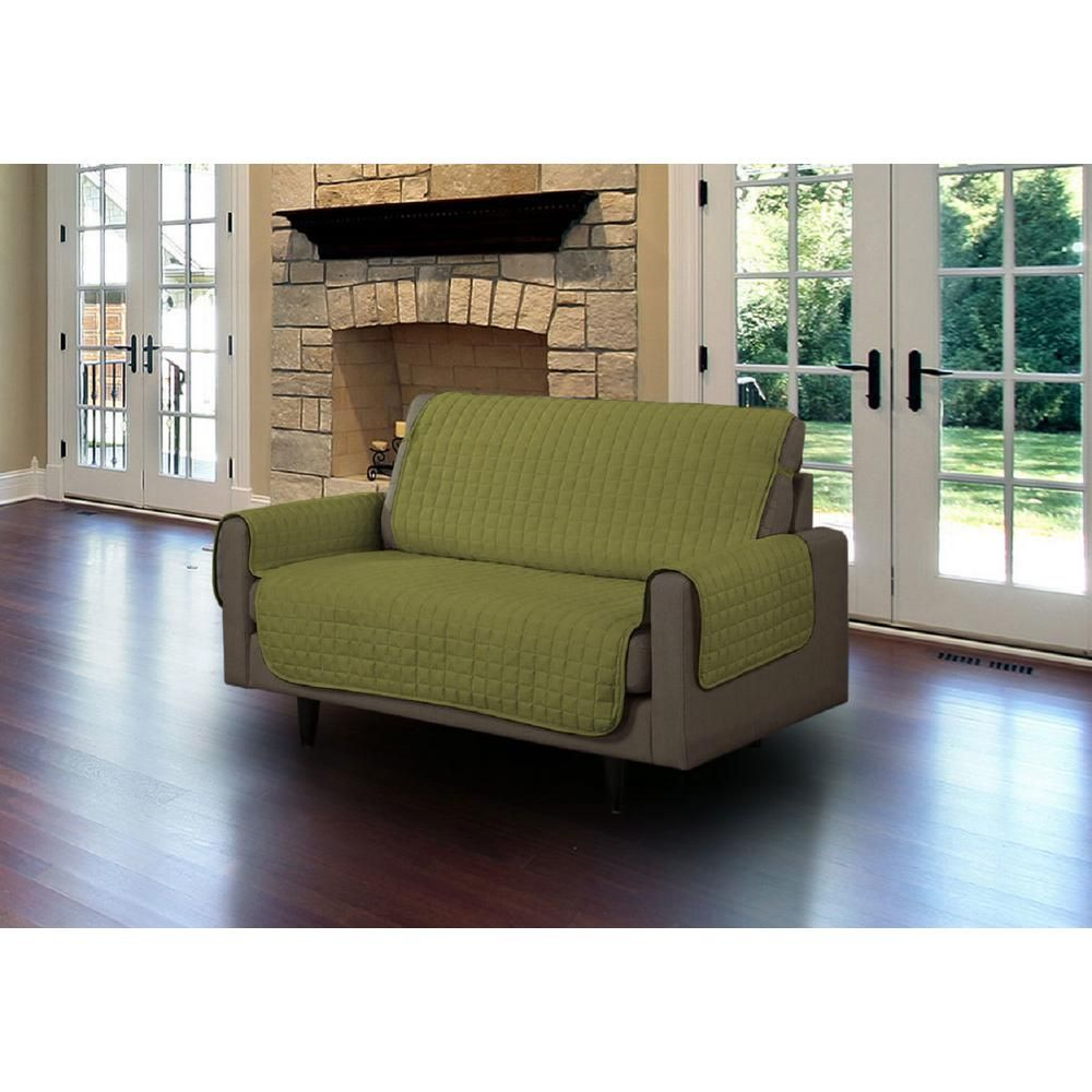 Sage Microfiber Loveseat Pet Protector Slipcover With Tucks And Strap Ls Sc408879 Couch Furniture Furniture Sofa Furniture