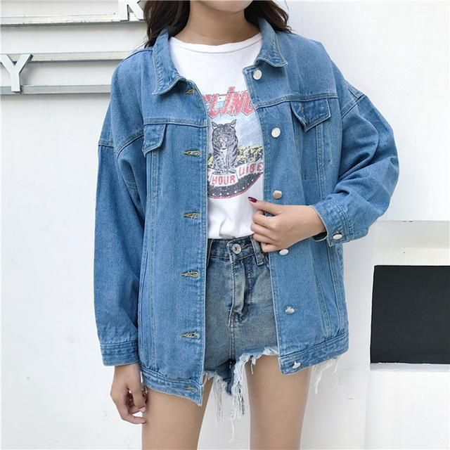 a32b544bb Denim Jeans Jacket for Women Slim Ripped Holes Vintage Bomber ...