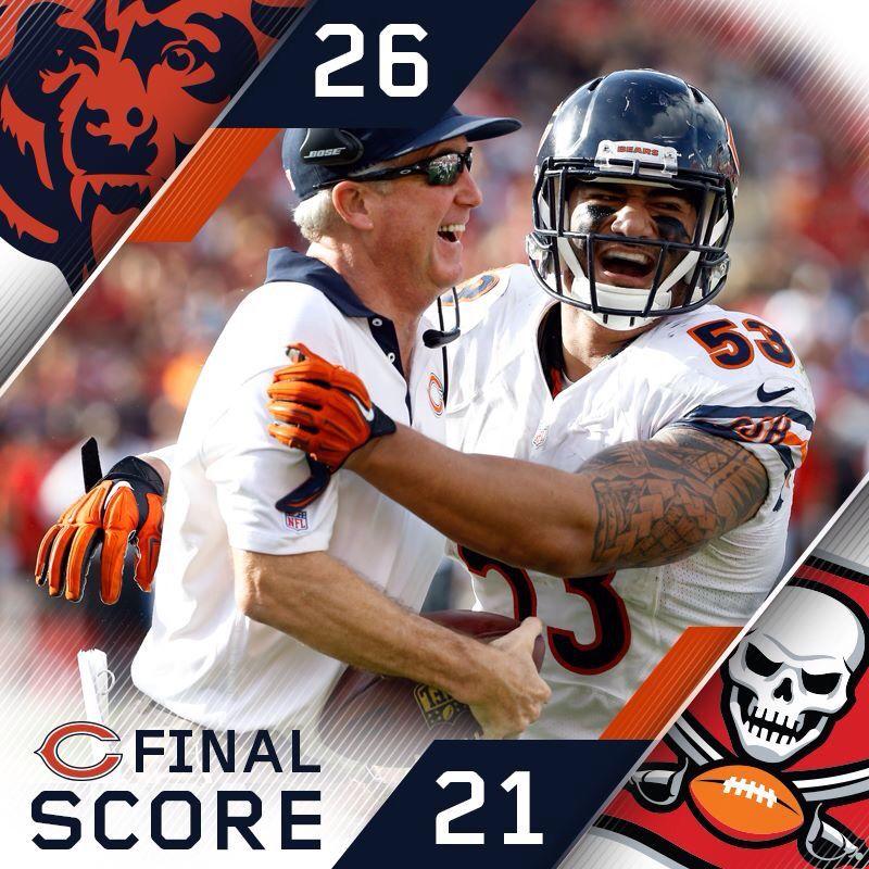 Final Score Bears 26 Buccaneers 21 Football Helmets American Football Football