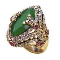 Wish | Vintage Turkish Jewelry Big Size Green Ring Antique Gold Plated Rings Turco Rhinestone Women Accessories 2016 Brand Bijuterias