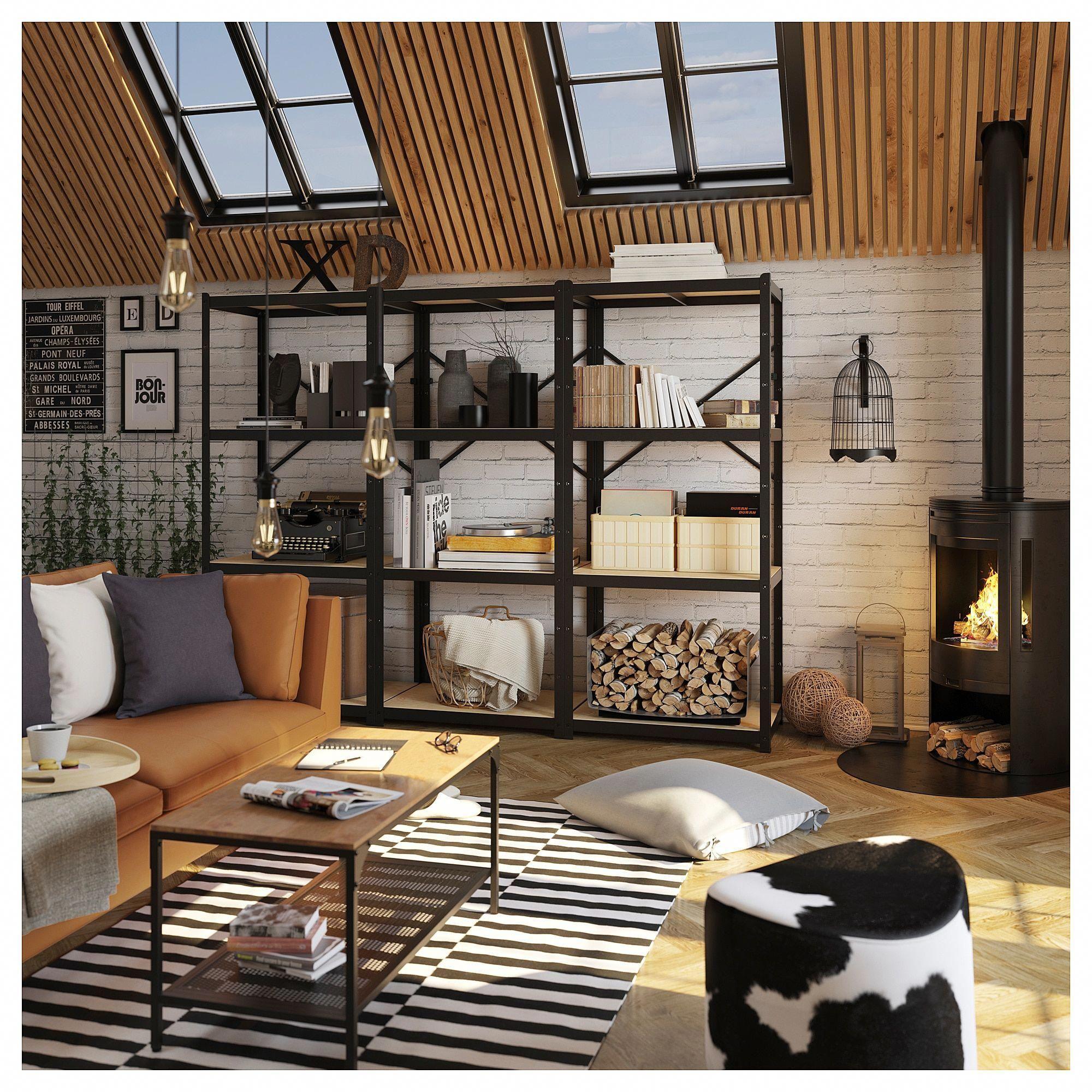 new concept 21ee8 ea01a BROR Shelving unit - black, wood | living room shelving in ...