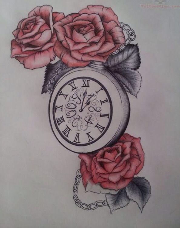 Clock And Roses Tattoo Design Clock Tattoo Watch Tattoos Rose Tattoos