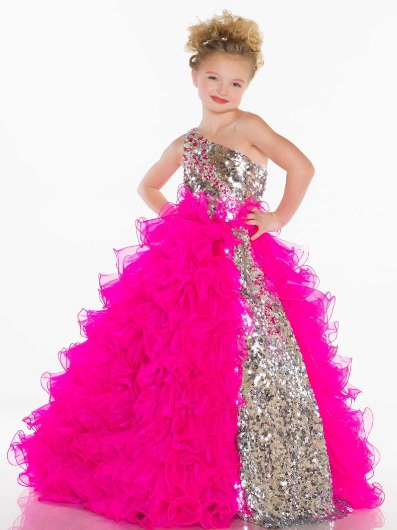 One Shoulder Sweep Train Organza Red Ball Gown Girls Pageant Dress ...