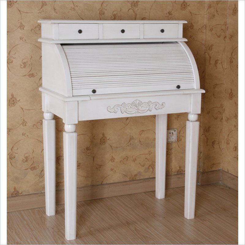 Carved Wood Roll Top Desk In White