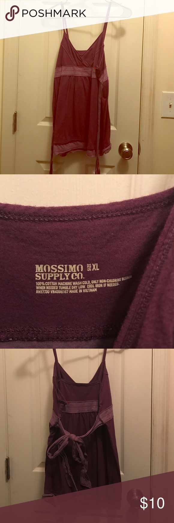 Mossimo Supply Co. purple tie back tank Mossimo Supply Co. purple tie back tank. Size XL. Never worn but tags have been removed. Mossimo Supply Co Tops Tank Tops