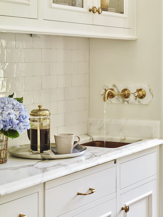 Love The Wall Mounted Brass Faucet In This Butler S Pantry