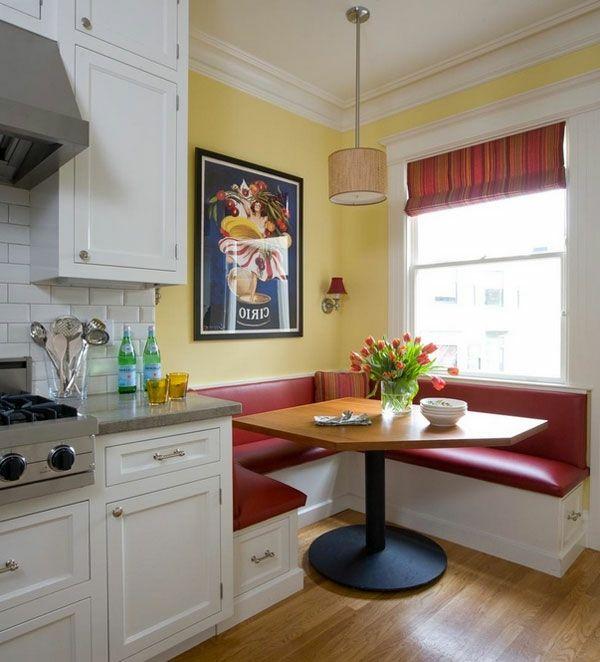 gemütliche essecke retro rotes leder | Sitzecke Küche | Pinterest