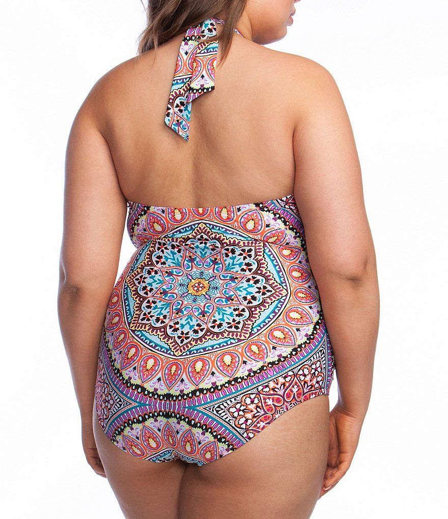 e55be5a4d21 Kenneth Cole Reaction Plus Size Serene Siren High Neck Tummy Control Mio One  Piece Swimsuit #Size, #Serene, #Siren