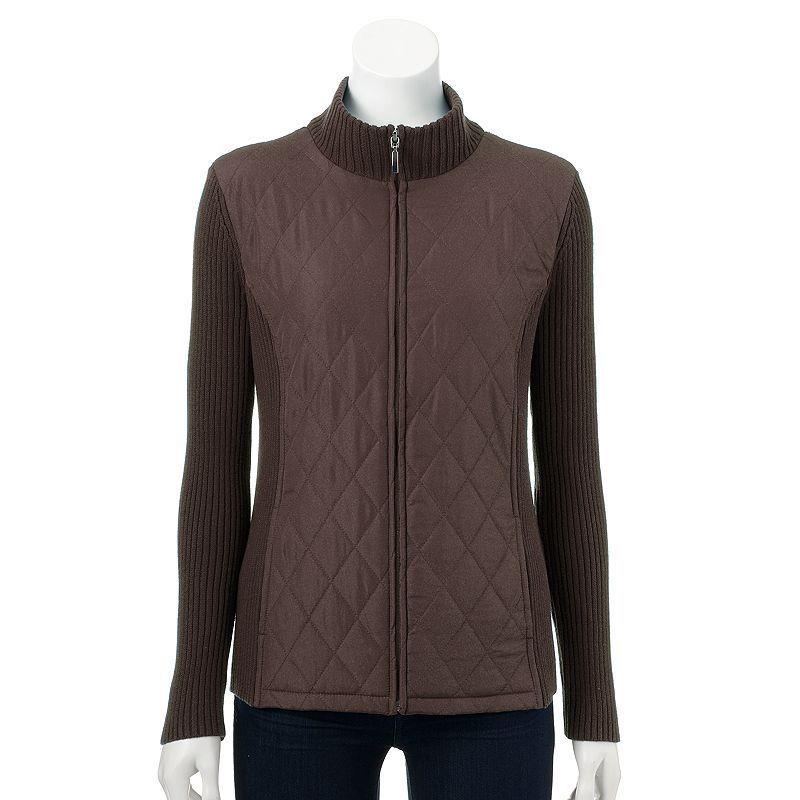 Women's Croft & Barrow® Quilted Mockneck Sweater Jacket, Size: