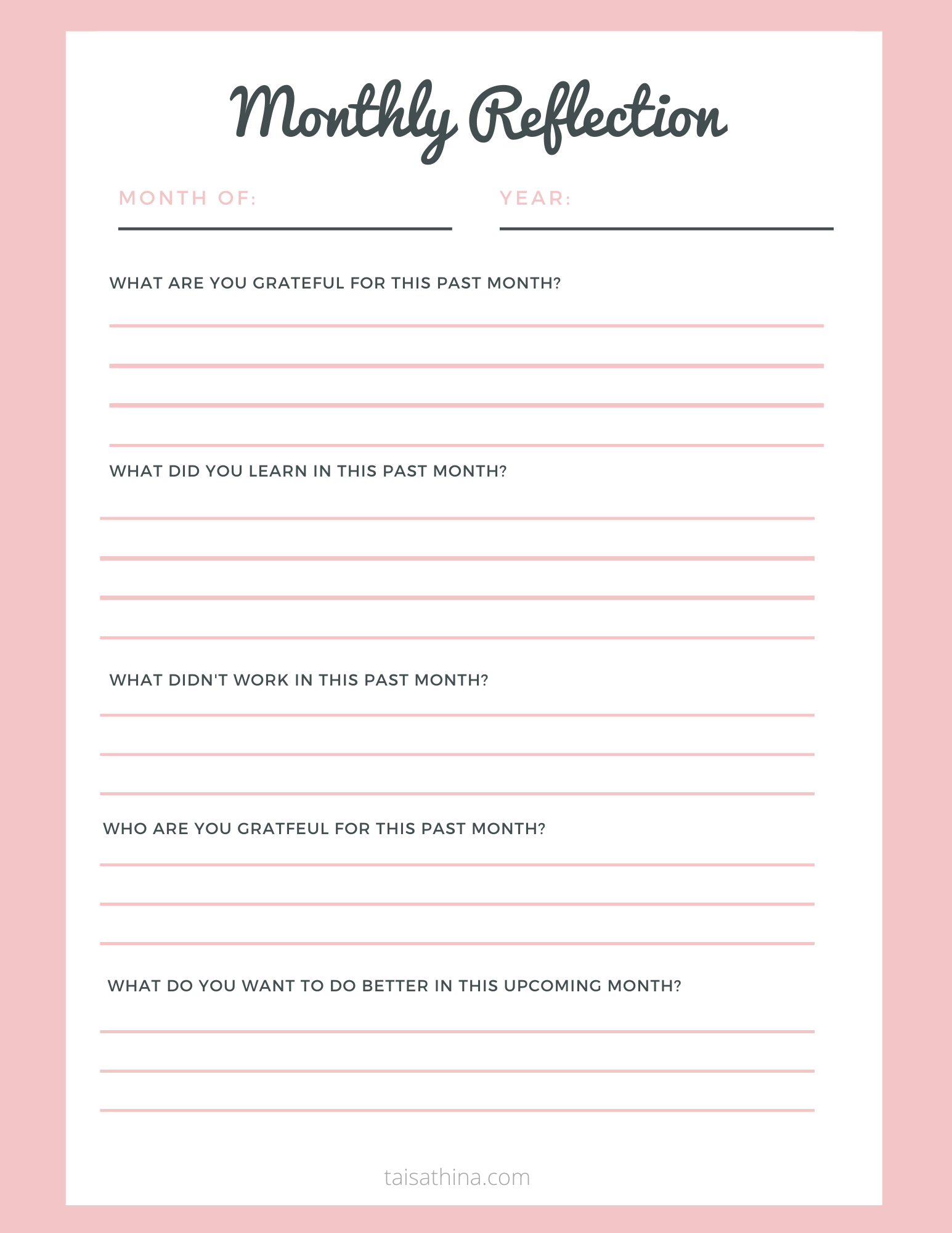 Monthly Reflection Printable Planner Sheet Daily Journal Prompts Journal Writing Prompts Reflective Journal [ 2000 x 1545 Pixel ]