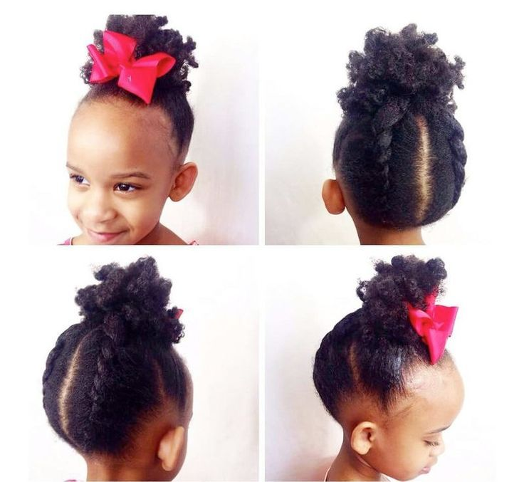 Coiffure afro enfant noeud rose cheveux Girls natural