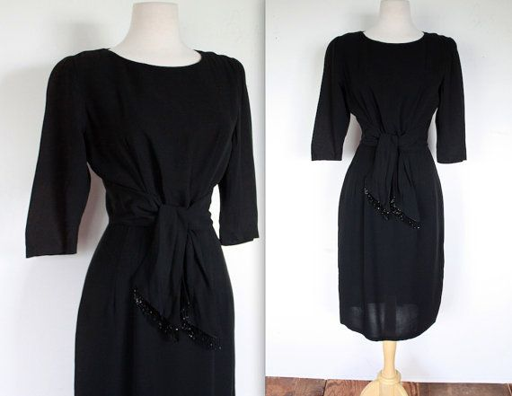 Vintage 1940\'s Dress // 40s 50s Black Rayon Crepe Evening Dress with ...