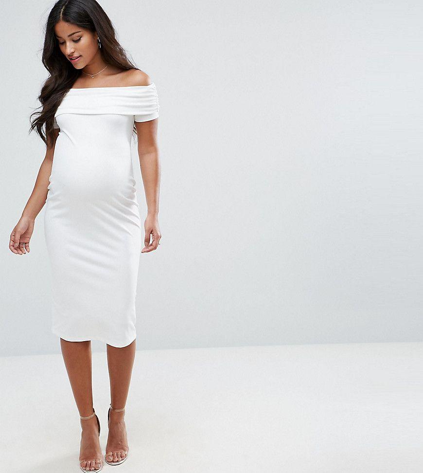 Asos Maternity Deep Bardot Midi Bodycon Dress Cream White Maternity Dresses Midi Dress Bodycon Stylish Maternity Outfits