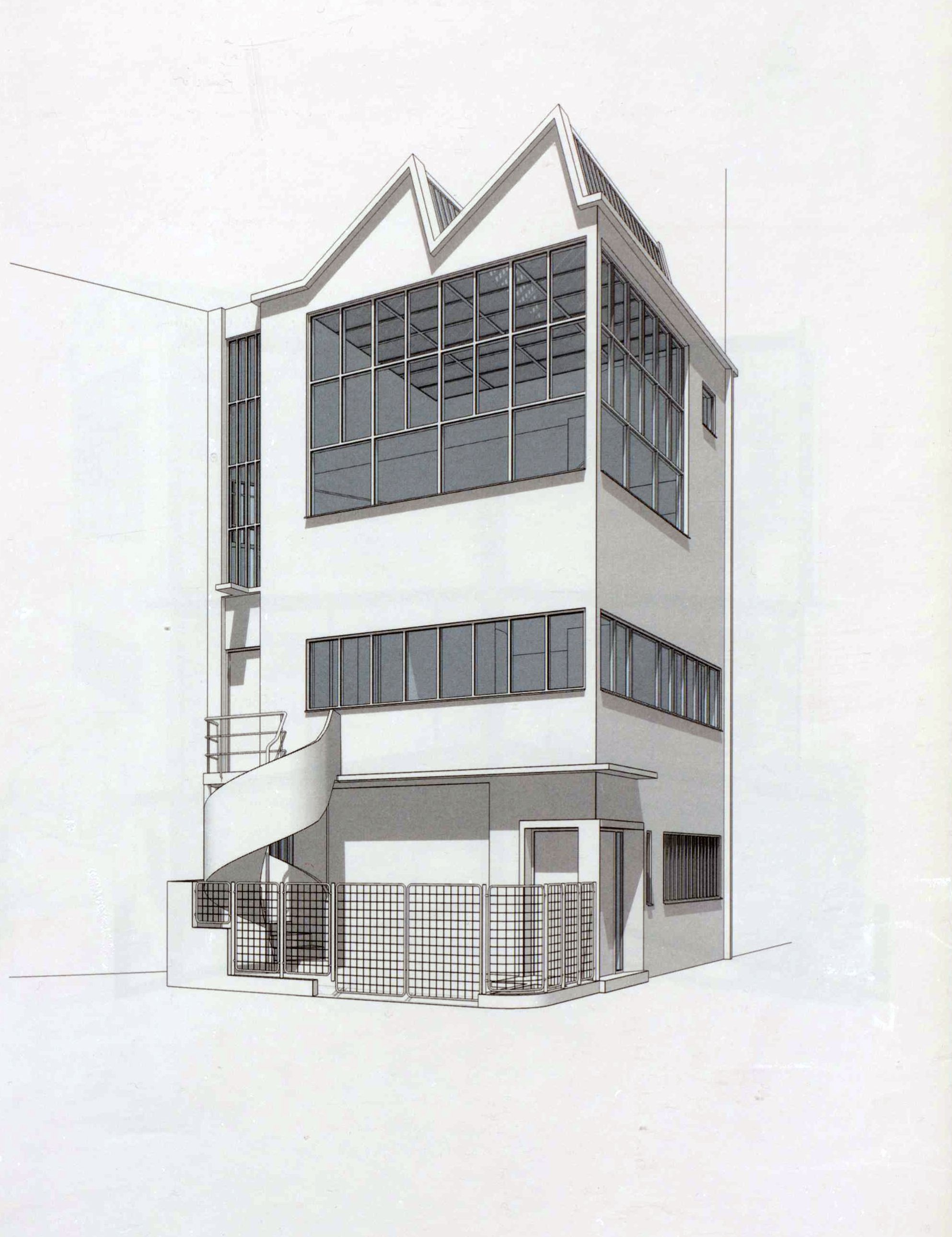 Maison atelier ozenfant drawing le corbusier concept architecture modern architecture design projects