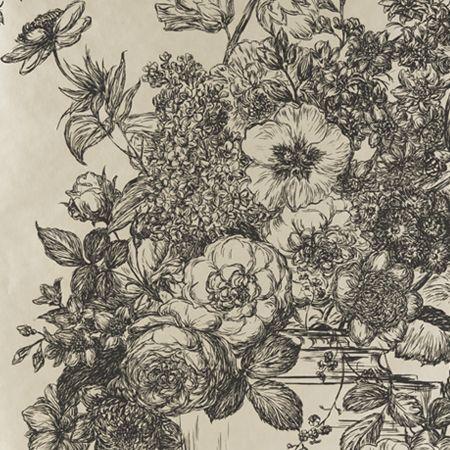 Botanical Flowers Black Floral WallpaperGold