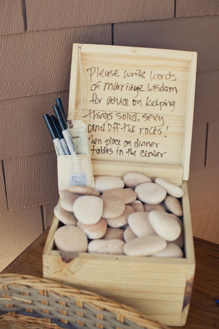 Rock guest book - perfect for a beach wedding!