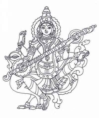 Goddess Saraswati sketch template   Goddess in 2019   Pinterest ...