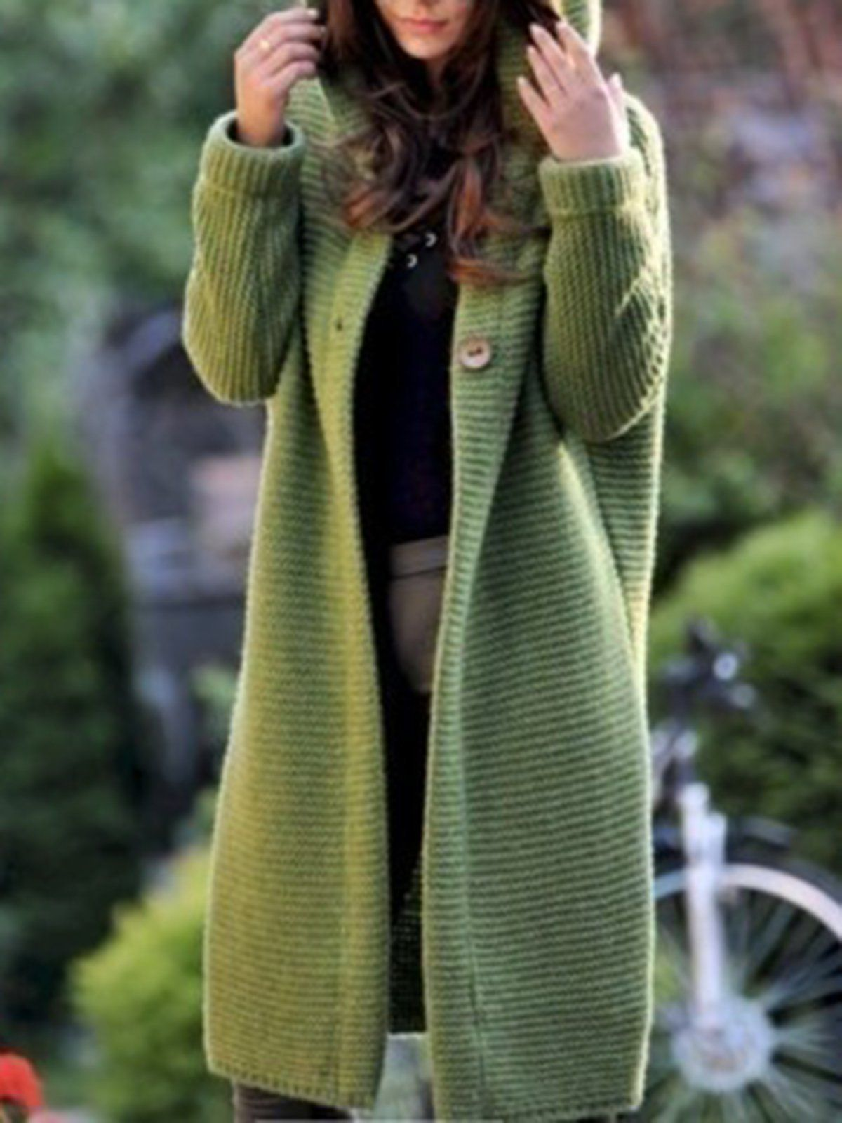 3821abfa0e Casual Knitted Long Sleeve Solid Hoodie Coat – lalasgal