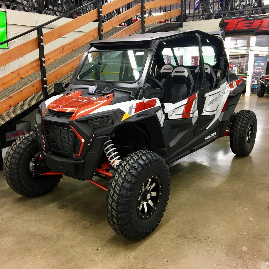 Photo Plazacycle This 2019 Polaris Rzr Turbo 4 Seater Is Set Up With A Full Windshield Rear Glass Aluminum Roof Wheel Kit And Is Rzr Rzr Turbo Polaris Rzr