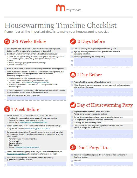 Housewarming Party Timeline Checklist My Move Spruce Run - sample home buying checklist