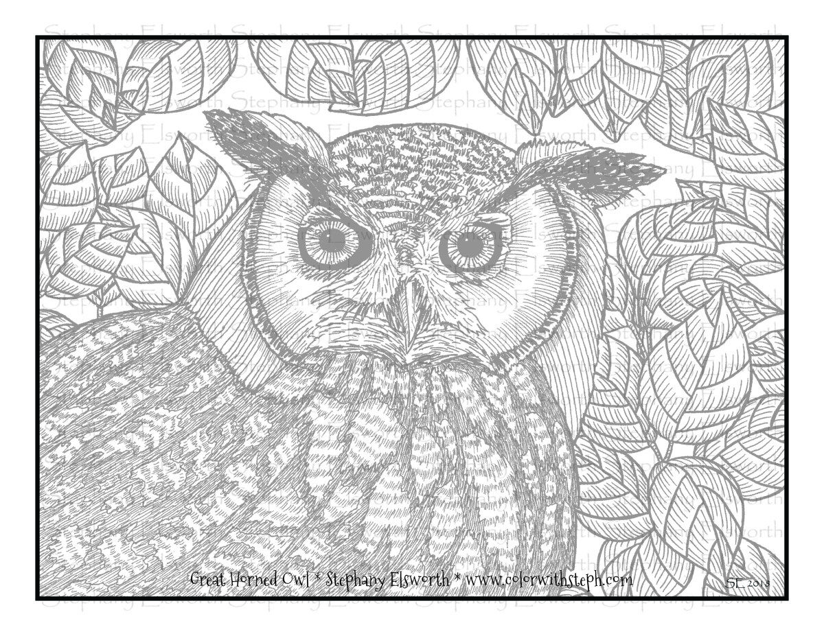 Great Horned Owl Free Printable Grayscale Coloring Page In 2020