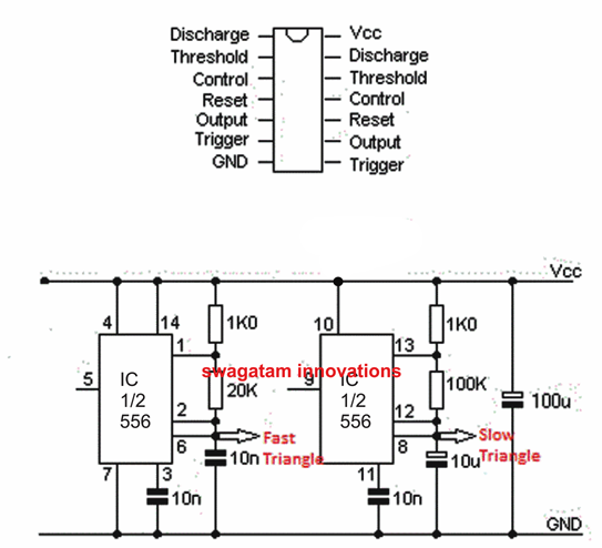 IC 556 triangle wave generator | Electronics Technology in 2019