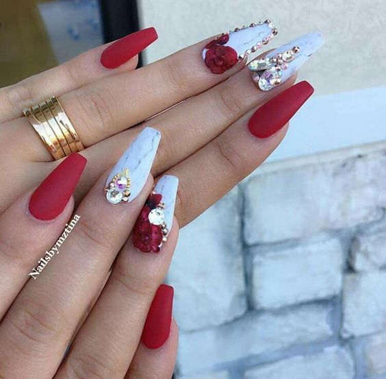 60 Eye Catching Acrylic Coffin Nails Designs For Prom 36 Diamond Nail Art Red Acrylic Nails Diamond Nails