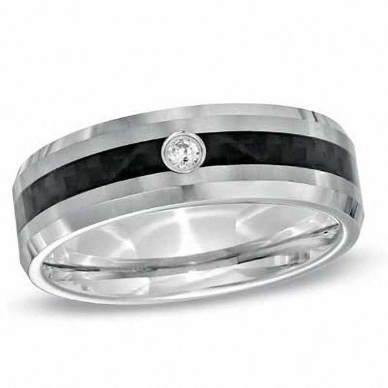Zales Mens Diamond Accent Double Groove Wedding Band (1 Line) SmSmF