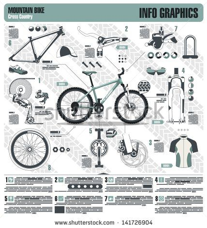 Mountain Bike Info Graphic Elements Vector Typography Ii