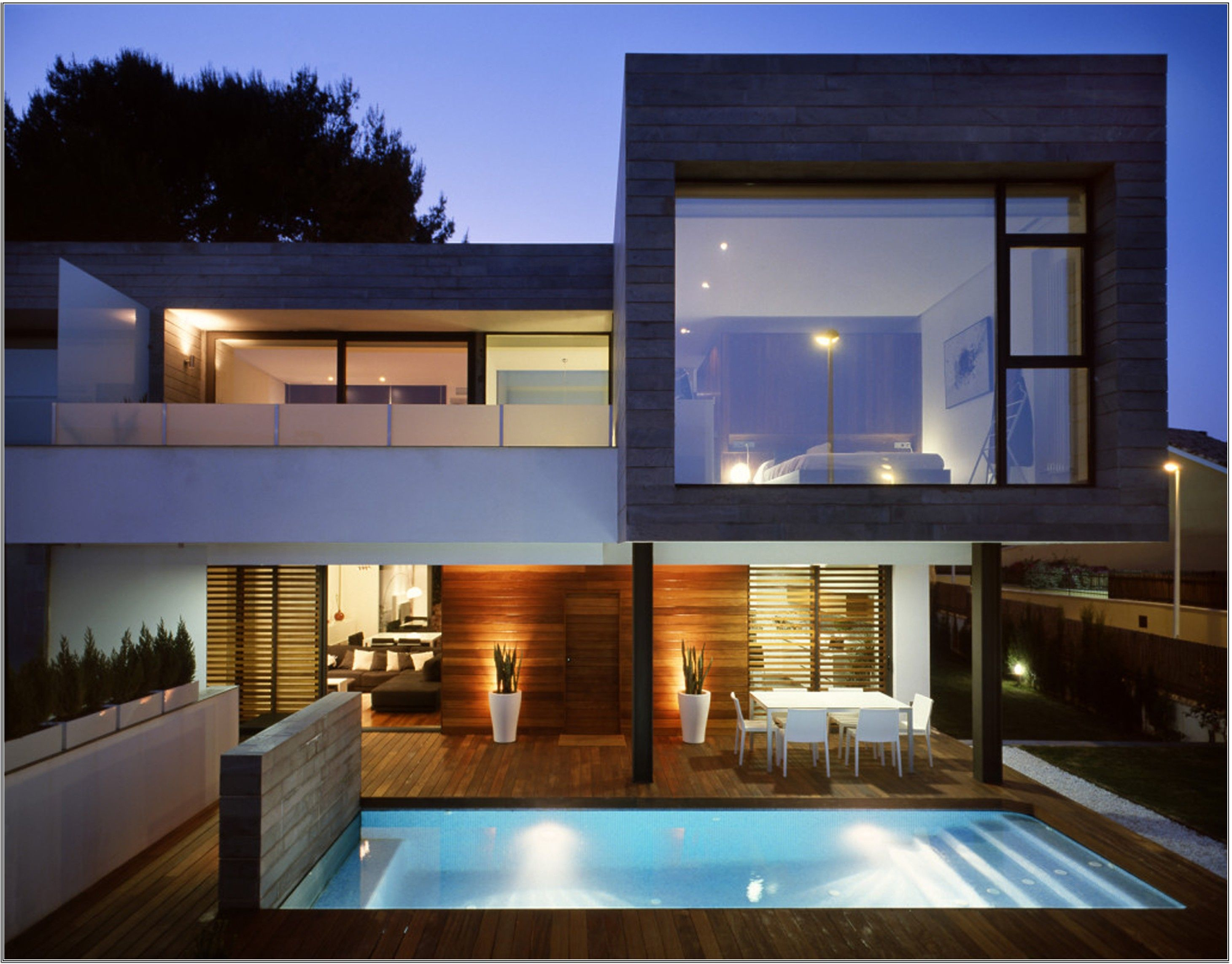 Impressive House Design Inspiration With White Black Brown Wall Large Gl Window And Blue Pool Water Majestic