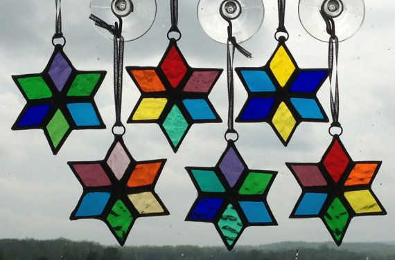 Stained Glass Six-Point Star Ornament/Suncatcher by QTSG on Etsy
