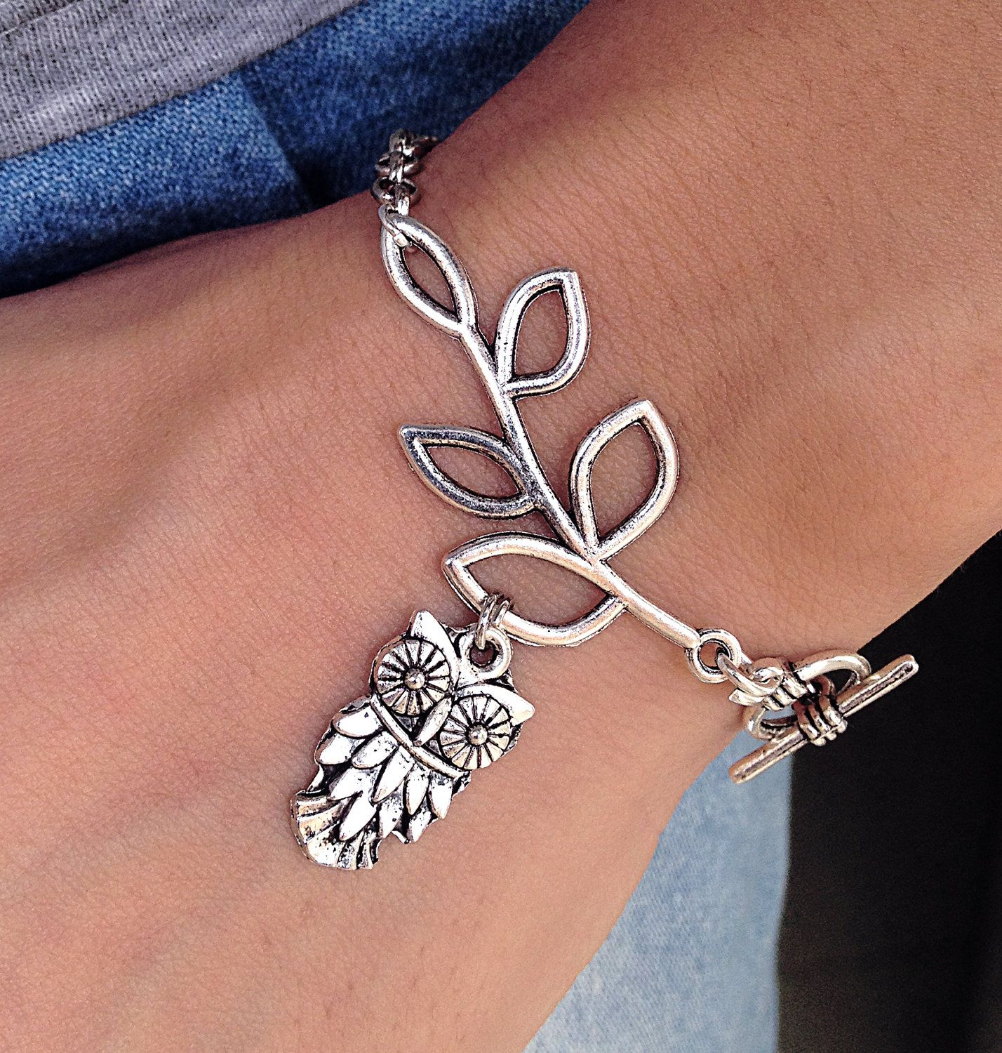 Silver leaf branch with owl charm braceletleaf by piercraft my