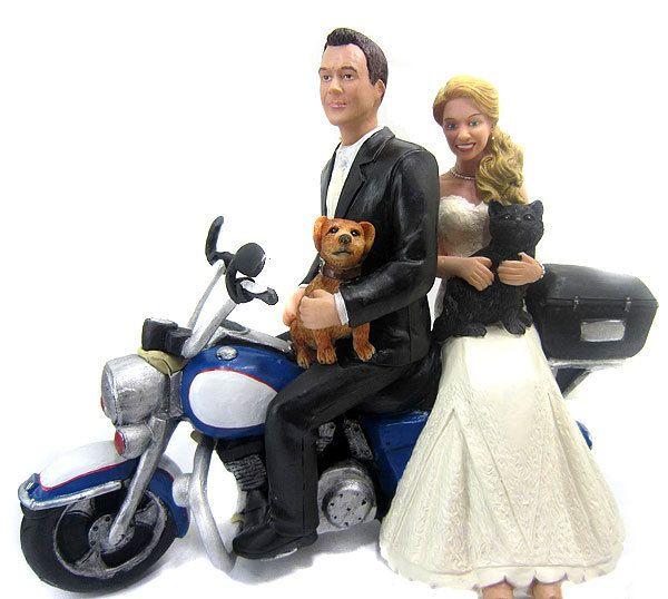 Custom Motorcycle Riding Couple Wedding Cake Topper