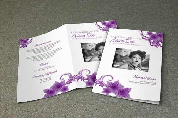 Purple Flower Funeral Program Template Printable Memorial - memorial brochure template
